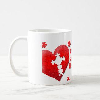 キリスト教愛ハートのジグソーパズル コーヒーマグカップ