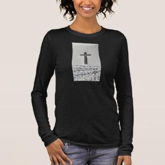 キリスト教黒い十字の長袖のワイシャツの女性 長袖Tシャツ