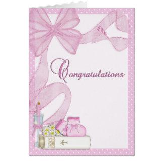 《キリスト教》洗礼式や命名式の洗礼のピンクのお祝い カード