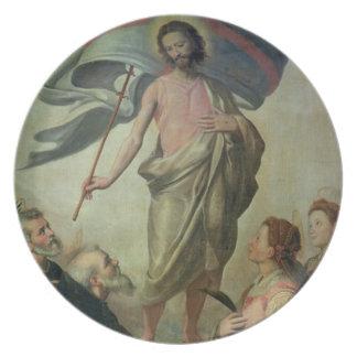 キリスト1595年の上昇(パネルの油) プレート