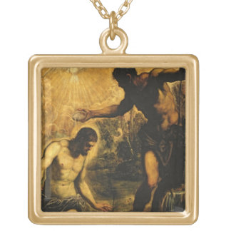 キリスト(キャンバスの油)の洗礼 ゴールドプレートネックレス