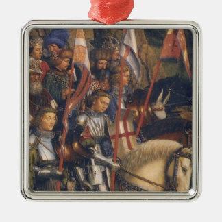 キリスト(ゲントの祭壇の背後の飾り)の騎士、ヤン・ファン・エイク シルバーカラー正方形オーナメント