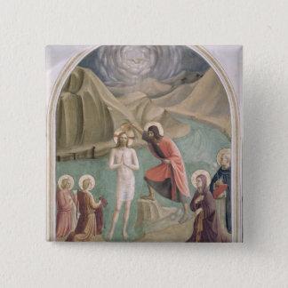 キリスト、c.1438-45 (フレスコ画)の洗礼 5.1cm 正方形バッジ