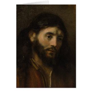 キリストCC0924イエス・キリストのポートレートのレンブラントの頭部 グリーティングカード