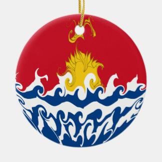 キリバス共和国のすごい旗 陶器製丸型オーナメント