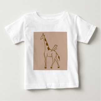 キリンおよびすずめ ベビーTシャツ