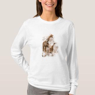 キリンおよびベビー- Tシャツ