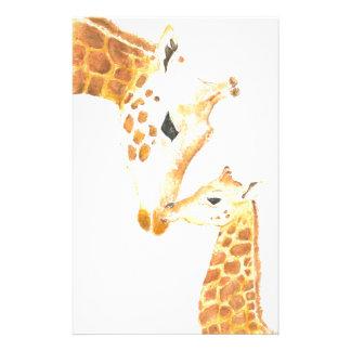 キリンおよび彼女の赤ん坊の写真 便箋