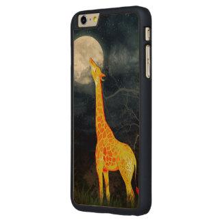 キリンおよび月のiPhone 6のSamsungの銀河系木箱 CarvedメープルiPhone 6 Plus スリムケース