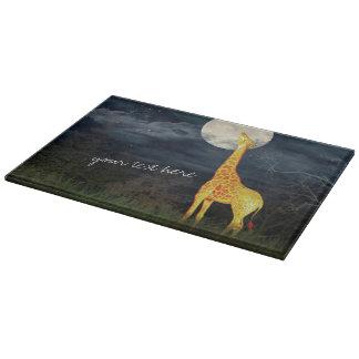 キリンおよび月|の装飾的なガラスまな板 カッティングボード