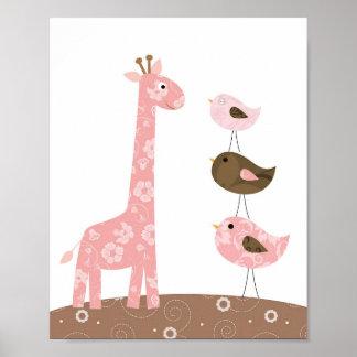 キリンおよび鳥の子供部屋の芸術 ポスター
