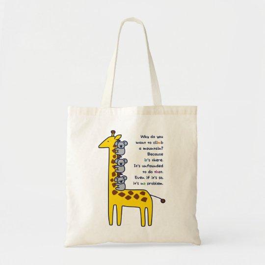 【キリンとくっつきコアラ(淡色地用)】 a Giraffe & clinging Koalas トートバッグ
