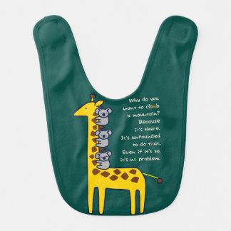 【キリンとくっつきコアラ(濃色地用)】 a Giraffe & clinging Koalas ベビービブ