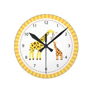 キリンのお母さんおよびベビーの養樹園部屋の装飾 ラウンド壁時計