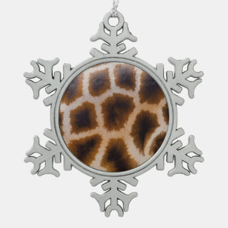 キリンのパッチによって斑点を付けられる皮の質のテンプレート スノーフレークピューターオーナメント