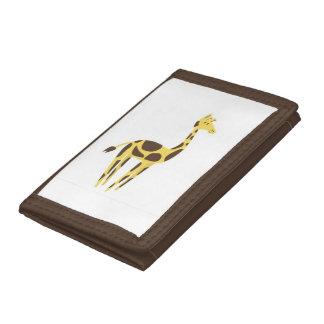 キリンのブラウンの三重ナイロン財布 ナイロン三つ折りウォレット