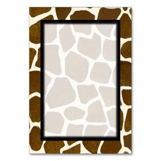 キリンのプリントの空白のなテーブル数Tablecard カード
