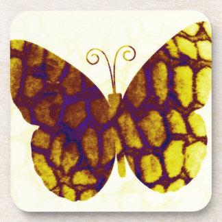 キリンのプリントの蝶金黄色 コースター