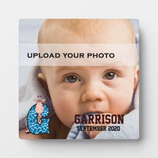 """キリンのベビーの写真との青くモノグラムのな""""G"""" フォトプラーク"""