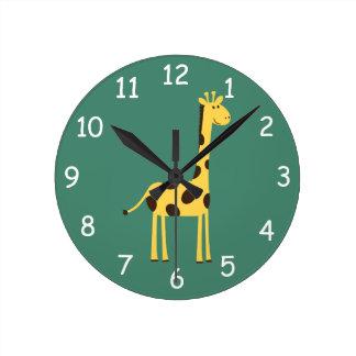 キリンの時計 ラウンド壁時計