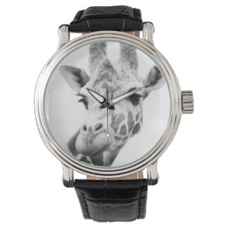キリンの白黒ポートレート 腕時計