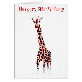 キリンの誕生日の野性生物の芸術 グリーティングカード