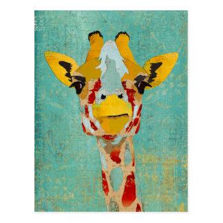 キリンの郵便はがきをかいま見る金ゴールド ポストカード