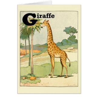 キリンの食べ物のアカシアのアルファベット カード