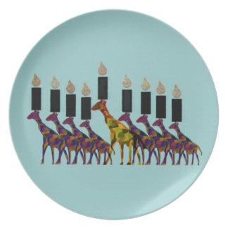 キリンのHannukahの(ユダヤ教)メノラーのプレート プレート