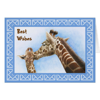 キリン及び子牛のバースデー・カード カード