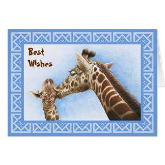 キリン及び子牛のバースデー・カード グリーティングカード