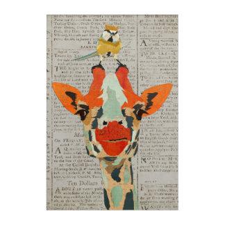 キリン及び小さい戴冠させた鳥をかいま見ること アクリルウォールアート