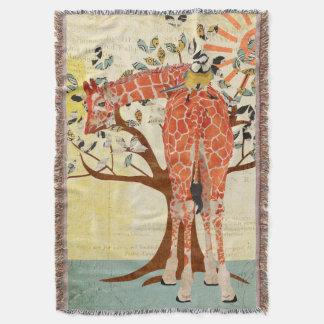キリン及び小さい鳥の明るいブランケット スローブランケット