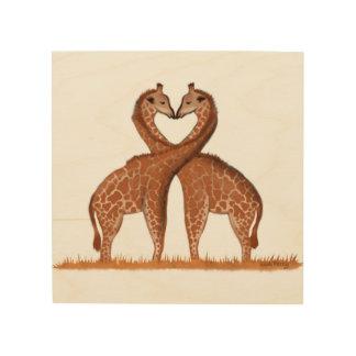 キリン愛ハートの木製のパネルの壁の芸術 ウッドウォールアート