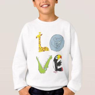 キリン、くま猫、ワニ、およびtoucanによって愛して下さい スウェットシャツ