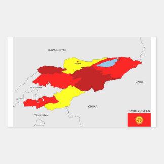 キルギスタンの国の政治地図の旗 長方形シール