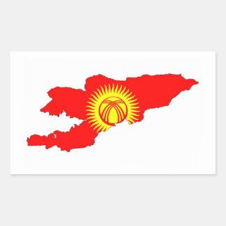 キルギスタンの国旗の地図の形のシルエット 長方形シール