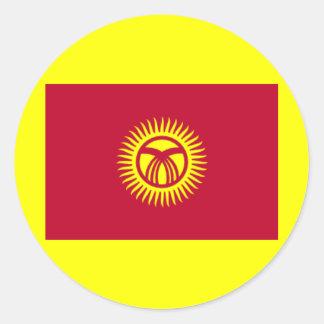 キルギスタンの国旗 ラウンドシール