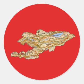 キルギスタンの地図のステッカー ラウンドシール