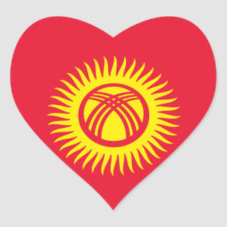 キルギスタンの旗のハートのステッカー ハートシール