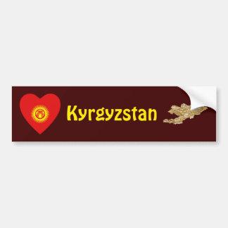 キルギスタンの旗のハート + 地図のバンパーステッカー バンパーステッカー