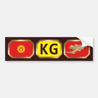 キルギスタンの旗の地図コードバンパーステッカー バンパーステッカー