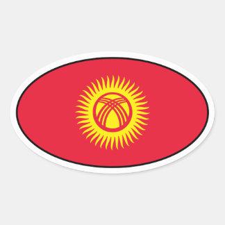 キルギスタンの旗の楕円形のステッカー 楕円形シール