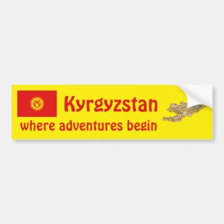 キルギスタンの旗 + 地図のバンパーステッカー バンパーステッカー