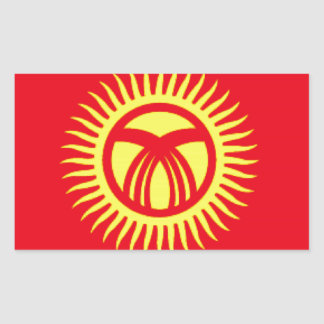 キルギスタンの旗 長方形シール
