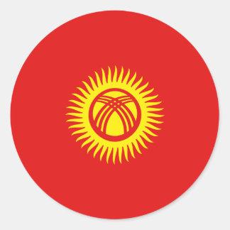 キルギスタンFisheyeの旗のステッカー ラウンドシール