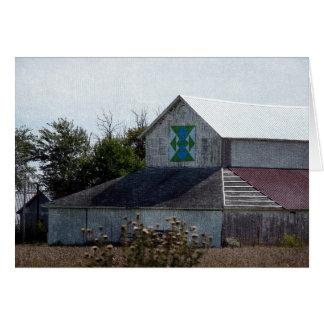 キルトが付いているアイオワの田園納屋 カード