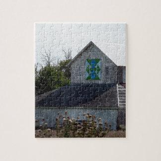キルトが付いているアイオワの田園納屋 ジグソーパズル