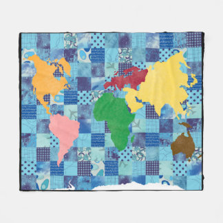 キルトにされた世界地図 フリースブランケット