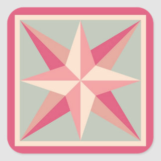 キルトのステッカー-斜めの星(ピンクか灰色) スクエアシール